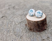 Fabric Button Earrings Teal Flower Vintage Earrings Floral Fabric Studs Covered Buttons Geometric Earrings