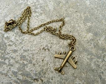 Jet Plane Necklace // Travel Necklace // Antique Brass Necklace // Airplane Necklace