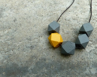 Geometric Wood Necklace // Faceted Wood Bead Necklace // Hedron Necklace // Grey and Mustard // Wood Bead Necklace