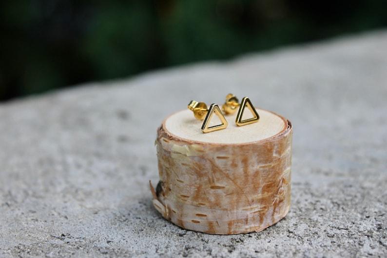Open Triangle Studs // Gold Silver Geometric Earrings // image 0