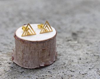 Gold Triangle Geometric Earrings // Triangle Earrings // Minimal Studs // Layered Triangle
