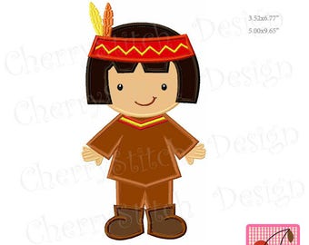 Thanksgiving Pilgrim Boy Machine Embroidery Applique Design TH0061 - for 5x7 and 6x10 hoop