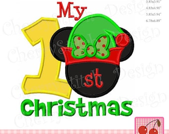 Christmas Embroidery Design,My 1st Christmas Elf Minnie Machine Embroidery Applique Design CH0155 - for 4x4,5x7 and 6x10 hoop