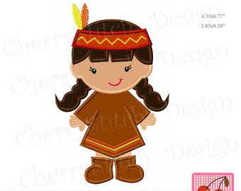 Thanksgiving Pilgrim Girl Machine Embroidery Applique Design TH0060 - for 5x7 and 6x10 hoop