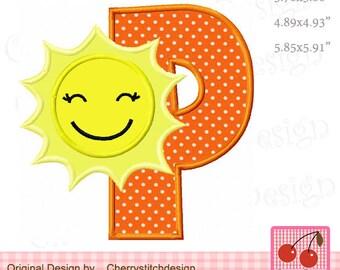 Sunshine monogramma P lettera P alfabeto macchina patch applique cefe1e62b94b