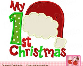 My 1st Christmas Santa hat Machine Embroidery Applique Design-4x4 5x5 6x6 inch