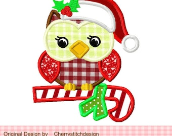 Owl Christmas owl Machine Embroidery Applique Design 03 - 4x4 5x5 6x6""
