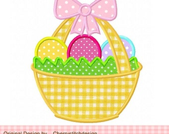 """Easter eggs basket  Easter Machine Embroidery Applique Design - 4x4 5x5 6x6"""""""