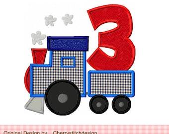 Train number 3 Transportation Birthday Machine Embroidery Applique Design BIR0045 -4x4 5x5 6x6 inch