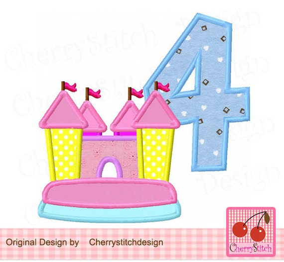 Bounce house number 4 Birthday Machine Embroidery Applique on bounce house business card, haunted house embroidery design, bounce house marketing, bounce house stationery, bounce house logo design,