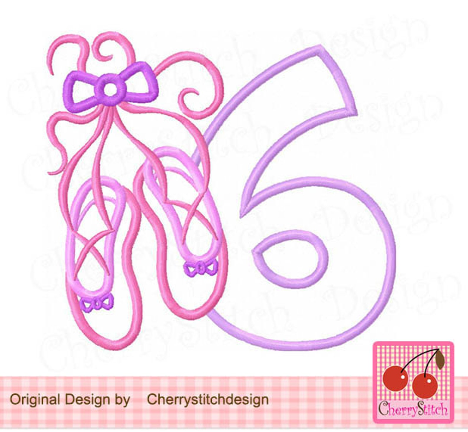 ballet shoes number 6 birthday machine embroidery applique -4x4 5x5 6x6