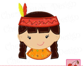 Thanksgiving Pilgrim Girl Indian Girl Machine Embroidery Applique Design TH0025 - approximate 4x4 5x5 6x6 inch
