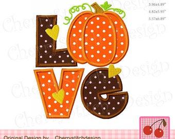 LOVE Pumpkin Thanksgiving Pumpkin Machine Embroidery Applique Design - for 4x4,5x7 and 6x10 hoop