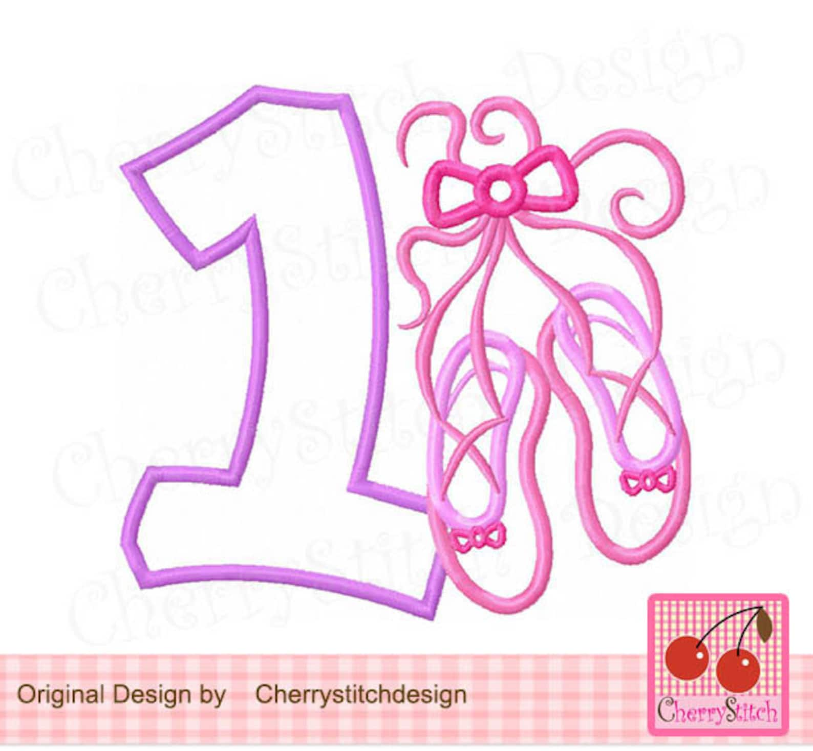 ballet shoes number 1, ballet birthday machine embroidery applique -4x4,5x5,6x6 inch -
