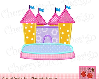 Little House One Machine Embroidery Applique Design on bounce house business card, haunted house embroidery design, bounce house marketing, bounce house stationery, bounce house logo design,