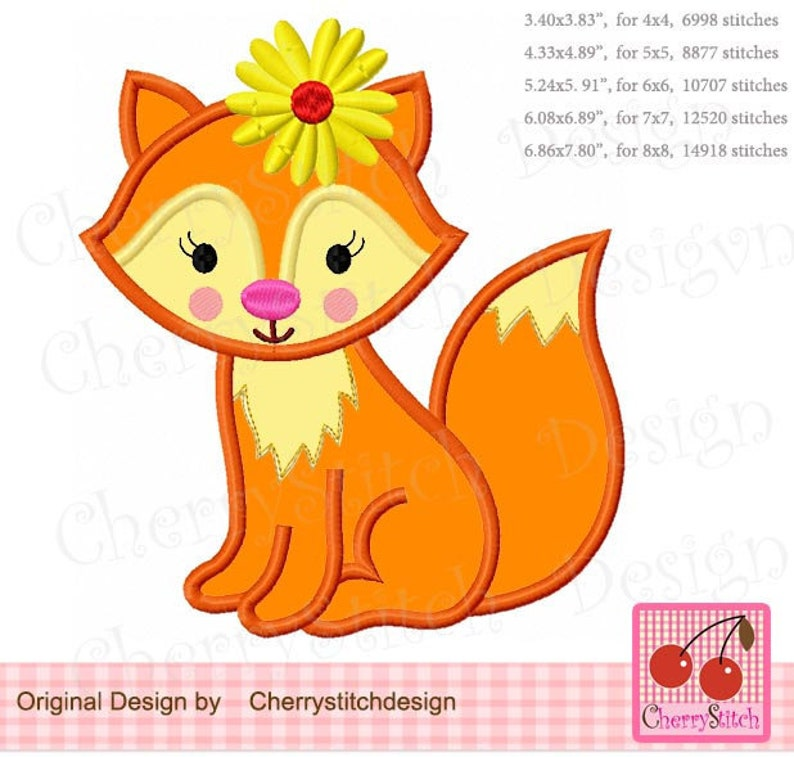 Spring Jungle Animal Machine Embroidery Applique Design AN0487 Fox Flowers Baby Fox girl