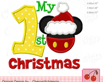 My 1st Christmas Mickey Machine Embroidery Applique Design CH0131 - for 4x4,5x7 and 6x10 hoop