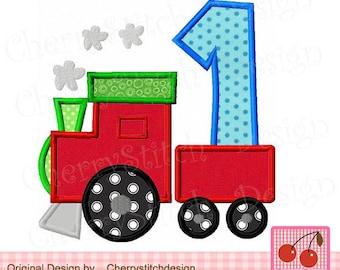 Train number 1 Birthday Machine Embroidery Applique Design BIR0017 -4x4 5x5 6x6 inch