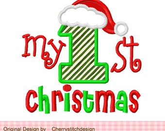Christmas Embroidery Design My 1st Christmas Machine Embroidery Applique Design- 4x4 5x5 6x6""