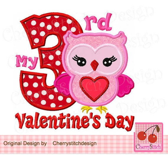 My 3rd Valentine S Day Owl Machine Embroidery Applique Etsy