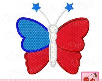 """Butterfly 4th of July Butterfly Patriotic Machine Embroidery Applique Design JULY0006 J -4x4 5x5 6x6"""""""