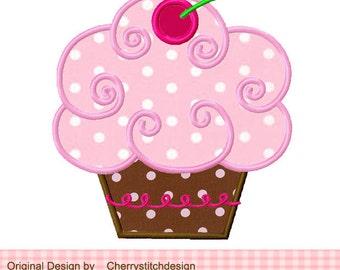 Cupcake Birthday Machine Embroidery Design -approximate 4x4 5x5 6x6 inch