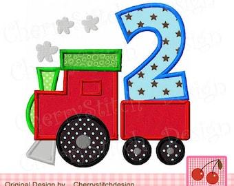 Train number 2 Birthday Machine Embroidery Applique Design BIR0018 -4x4 5x5 6x6 inch