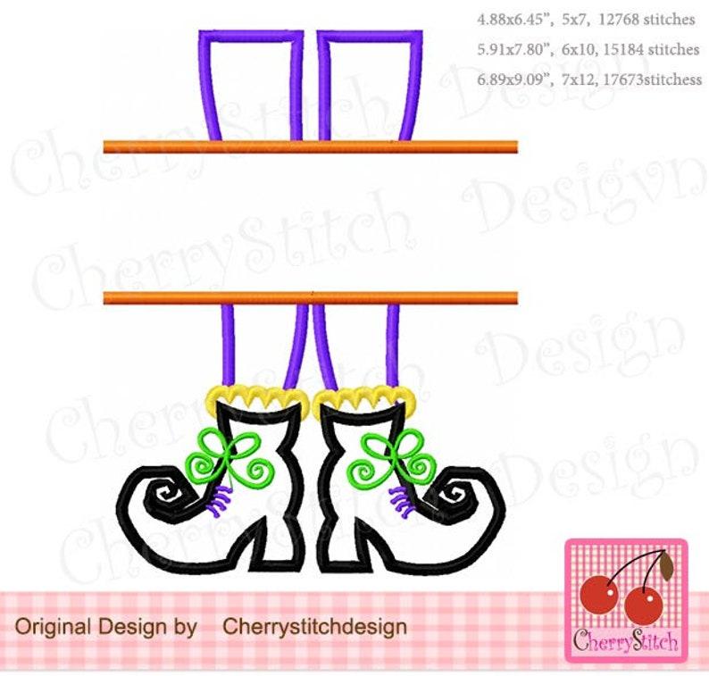 Halloween Splie Witch Feet Witch boots  Machine Embroidery Applique Design HL0149