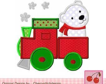 "Train with polar bear Machine Embroidery Applique CH0017 - 4x4 5x5 6x6"""