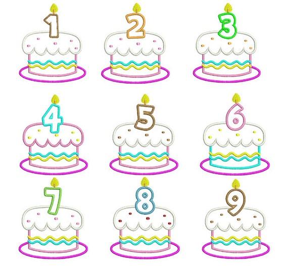 Geburtstag Kuchen Zahlen Set Maschine Stickerei Applikation 4 Etsy