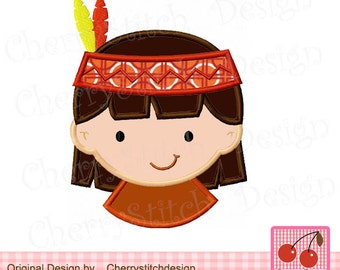 """Thanksgiving Indian Pilgrim Boy Machine Embroidery Design TH0023 -approximate for 4x4 5x5 6x6"""""""