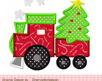 Christmas Embroidery Design Train Machine Embroidery Applique Design -4x4 5x5 6x6 inch
