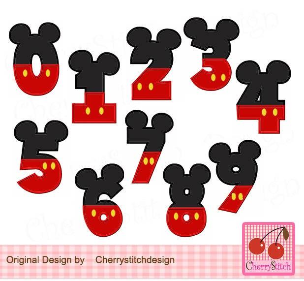 Diseño de bordado orejas de ratón Mickey números cumpleaños | Etsy