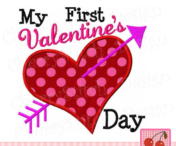 Valentine S Day Embroidery Design My 1st Valentine S Etsy