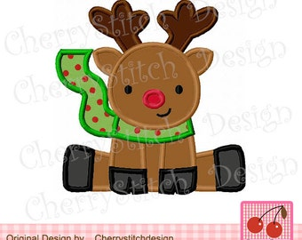 Christmas Embroidery Design Reindeer Machine embroidery applique design for boys -approximate 4x4 5x5 6x6 inch