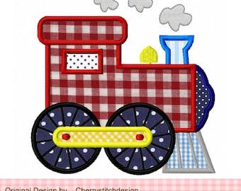 Train Transportation Machine Embroidery Applique Design