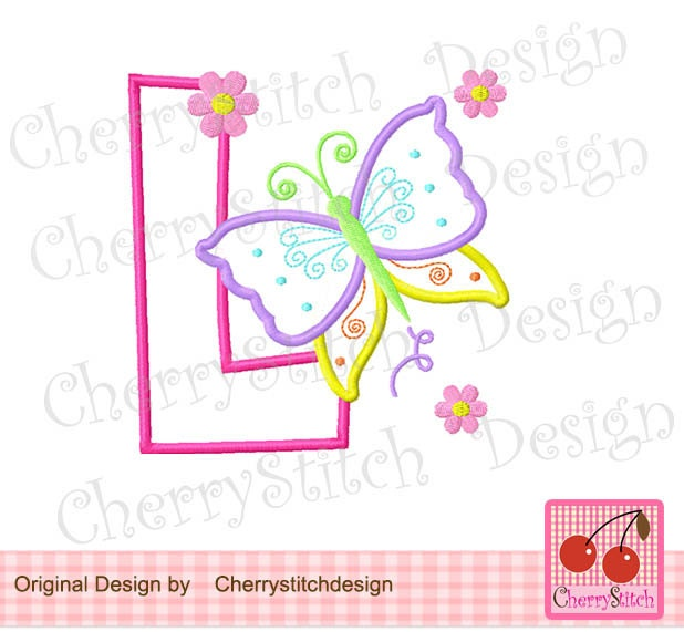 Butterfly Monogram L Letter L Machine Embroidery Applique