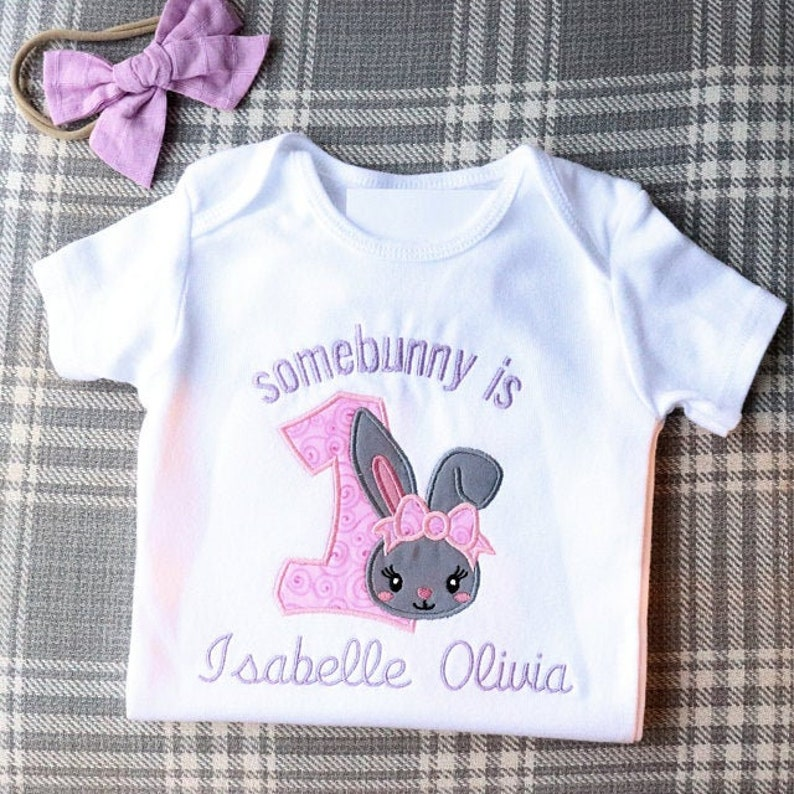 Easter Bunny number 1 Birthday Machine Embroidery Applique Design