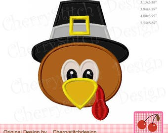 Thanksgiving Turkey Pilgrim Hat Turkey boy Embroidery Applique - for 4x4,5x7 and 6x10 hoop
