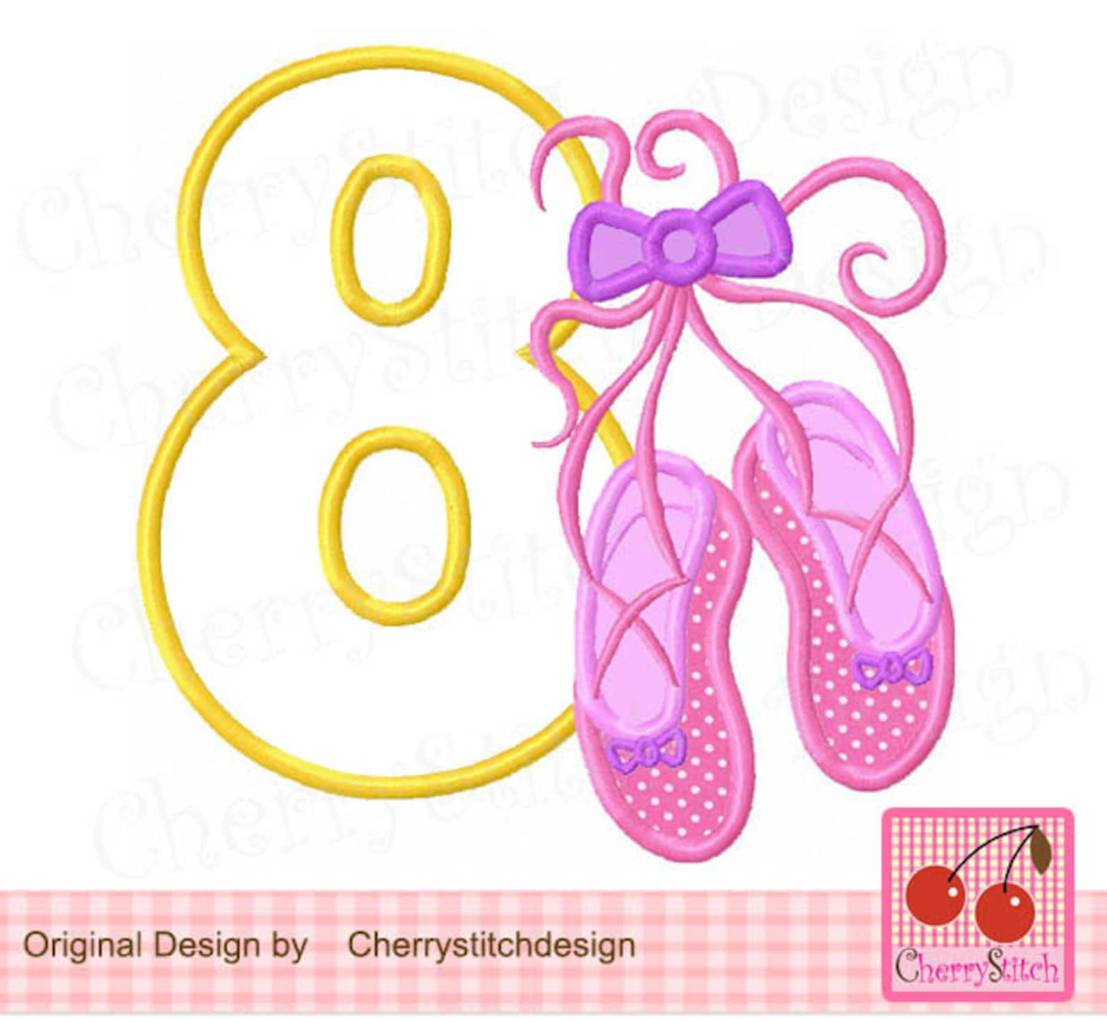 ballet shoes number 8,ballet shoes embroidery design,my 8th birthday digital applique-4x4,5x5,6x6 inch -machine embroidery appli