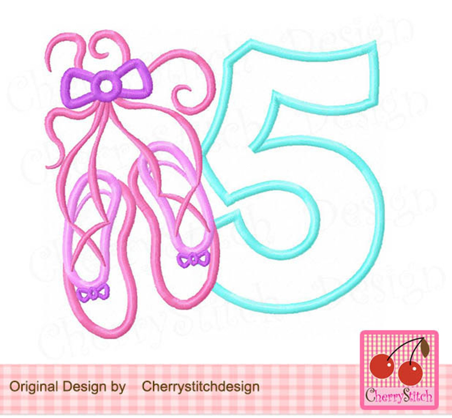 ballet shoes number 5 birthday machine embroidery applique design-4x4,5x5,6x6 inch