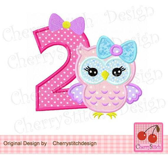 Eule Nummer 2 Geburtstag Maschine Stickerei Applikation Design Etsy