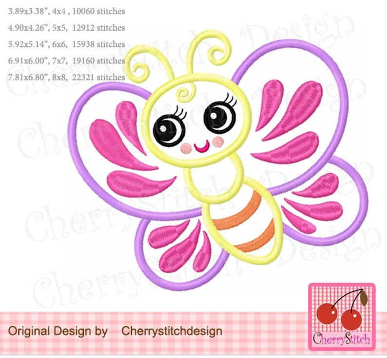 Embroidery design Butterfly girly butterfly Machine Embroidery Applique  BD001