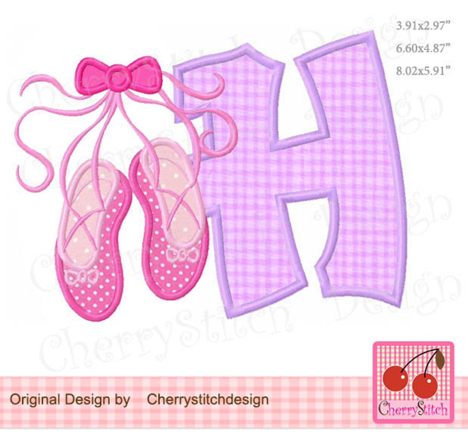 ballet shoes letter h monogram h machine embroidery applique design - for 4x4, 5x7 and 6x10 hoop