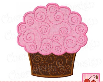 Cupcake,Swirly Cupcake Digital Applique, Cupcake Embroidery BIR0053-approximate 4x4 5x5 6x6 inch-Machine Embroidery Design