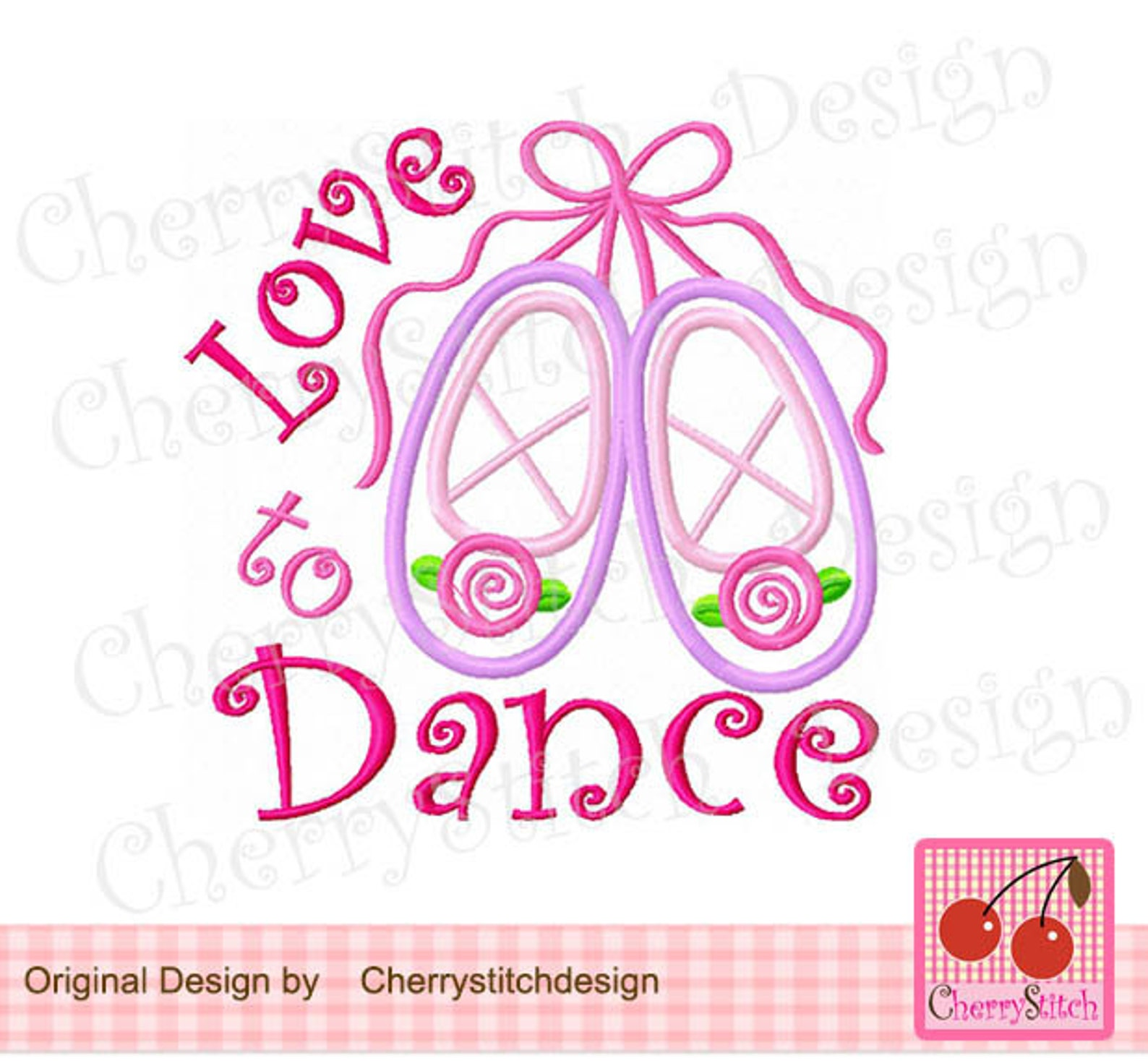 ballet slippers, love dance embroidery applique design -4x4 5x5 6x6