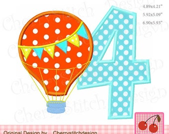 Hot Air Balloon Number 4 Birthday number 4 Summer Machine Embroidery Applique Design -  4x4,5x5,6x6,7x7""