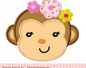 Monkey with Flowers Animal Machine Embroidery Applique Design -4x4 5x5 6x6 inch