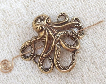 Gold Octopus Shawl Pin, Octopus Scarf Pin, Gold Shawl Pin, oxidized, brass, spring fashion, goth, ocean, sea