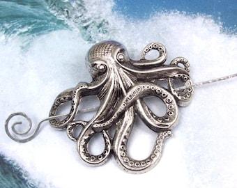 Silver Octopus Shawl Pin, Octopus Scarf Pin, Silver Shawl Pin, oxidized, silver filled, spring fashion, goth, ocean